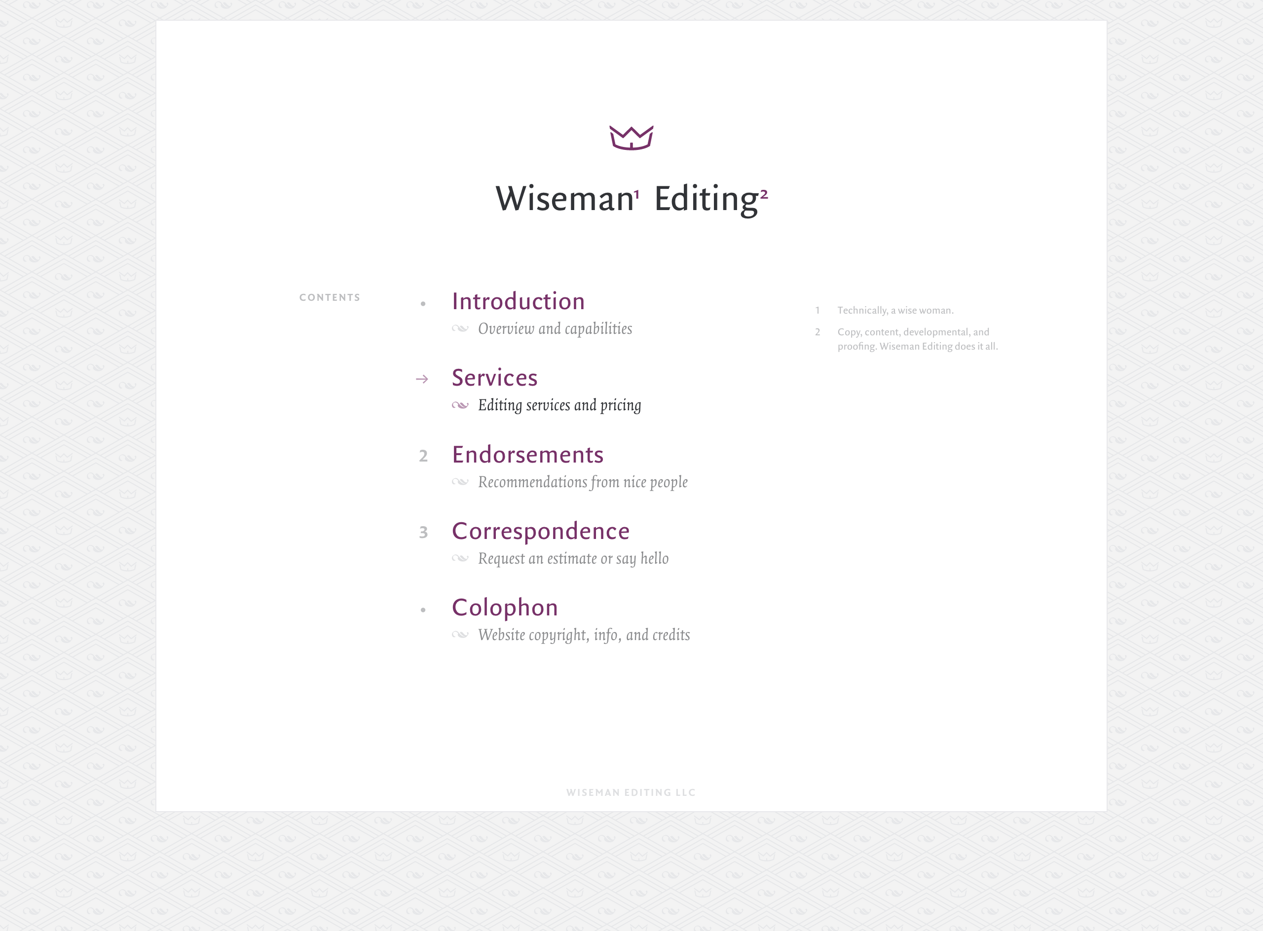 Wiseman Editing - Website Table of Contents
